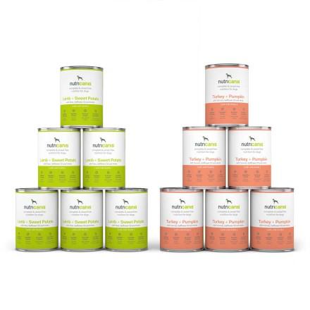 Adult wet dog food mix: 6 x 400g Lamb + Sweet potato & 6 x 400g Turkey + Pumpkin