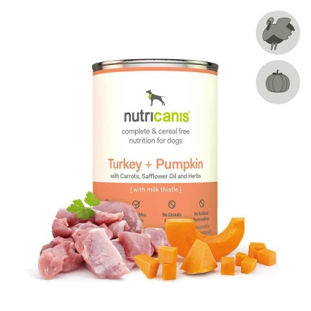 Adult wet dog food: 400g Turkey + Pumpkin with milk thistle