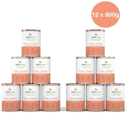 Adult wet dog food: 12 x 800g Turkey + Pumpkin with milk thistle