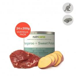 Adult wet dog food: 24 x 200g Kangaroo + Sweet Potato