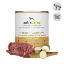 Adult wet dog food: 800g Horse + Cassava with milk thistle