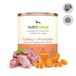 Adult wet dog food: 800g Turkey + Pumpkin with milk thistle